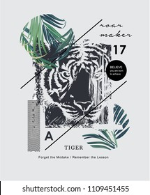 typography slogan with tiger and palm leaf illustration