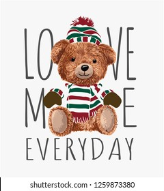 typography slogan with toy bear in winter costume