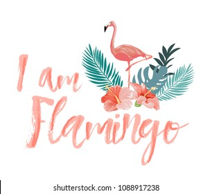 typography slogan with tropical flower and flamingo