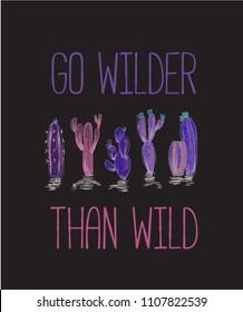 typography slogan with wild cactus invert color illustration