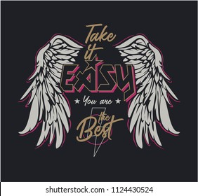 typography slogan with wings illustrtaion