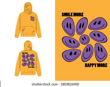 Typography Street Wear Hoodie Smile More And Happy More