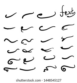typography tails shape for lettering doodle handdrawn  style vector