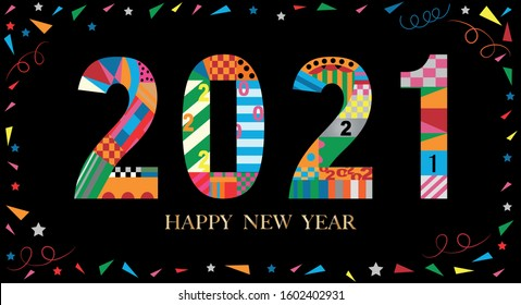 Typography text 2021 font in colourful of geometric style on black background, Creative deco design for Greeting Lettering. new year 2021 year of the ox for flyers, posters, banners and calendar,