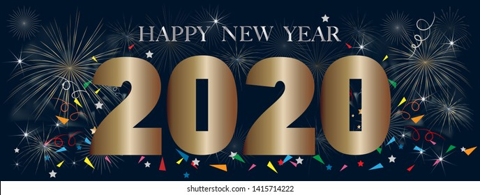 Typography text Happy new year 2020 in golden style with firework background, Creative design for Greeting Lettering. New Year 2020, flyers, posters, banners and calendar,