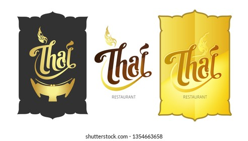 "Typography ""Thai"" concept logo. Black, white, gold background with Thai Art, xylophone illustrate symbol . Design for restaurant, company, cuisine, shop, etc. - Vector."
