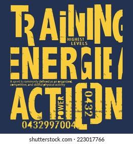 Typography training sport, t-shirt graphics, retro