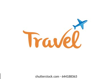 Typography Travel Airplane Creative Letter Design Illustration