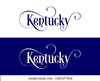 Typography of The USA Kentucky States Handwritten Illustration on Official U.S. State Colors. Modern Calligraphy Element for your design.