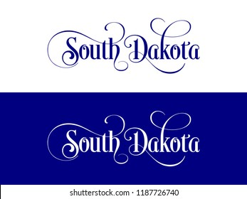 Typography of The USA South Dakota States Handwritten Illustration on Official U.S. State Colors. Modern Calligraphy Element for your design.