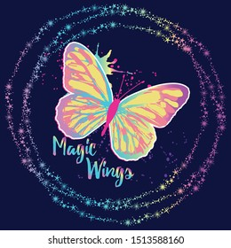 Typography vector graphic print for t-shirt with butterfly. Kids magic slogan, for clothes, banner, girls, women, child. hand written text Feel Free