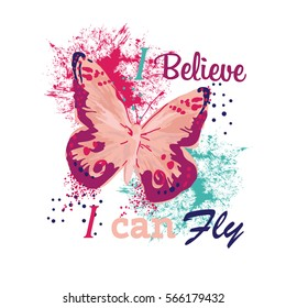 Typography vector graphic print for t-shirt with butterfly.