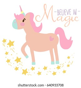 Typography vector graphic print for t-shirt with unicorn. Believe in magic.