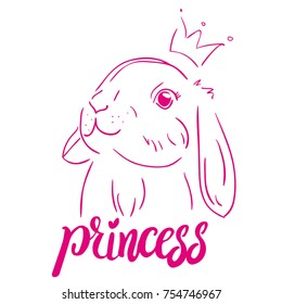 Typography vector graphic print for t-shirt  with a sweet princess bunny. For print, baby clothes, t shirt, child or wrapping paper. Creative girlish original design