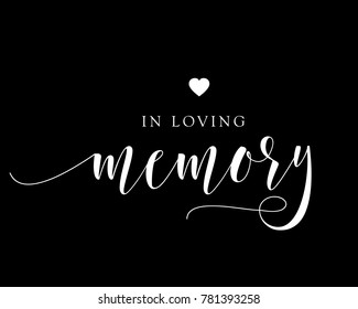 Typography wedding word art text design vector for  in loving memory