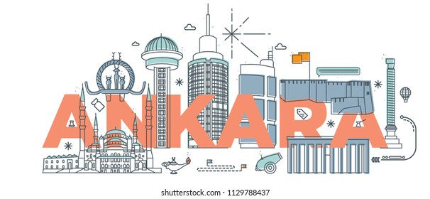"Typography word ""Ankara"" branding technology concept. Collection of flat vector web icons. Ankara culture travel set, famous architectures and specialties detailed silhouette. Turkish famous landmark."