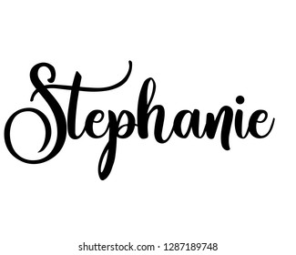 Typography word art person name design vector graphic for Stephanie