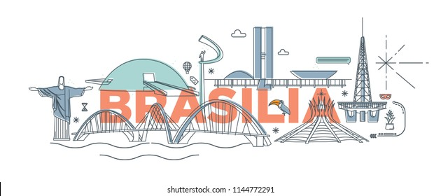 """Typography word """"Brasilia"""" branding technology concept. Collection of flat vector web icons, culture travel set, famous architectures and specialties detailed silhouette. Brazilian famous landmark."""