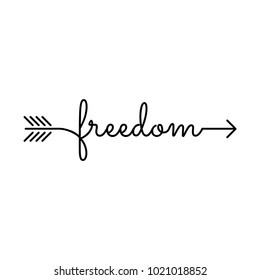 typography: word freedom starts an ends with arrow