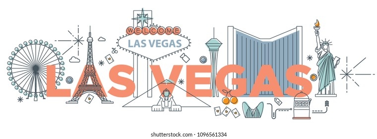"""Typography word """"Las Vegas"""" branding technology concept. Collection of flat vector web icons, culture travel set, famous architectures, specialties detailed silhouette. American famous landmark."""