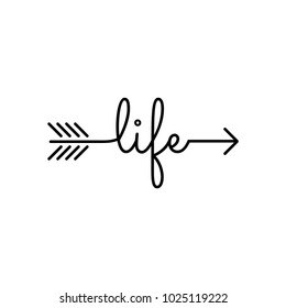 typography: word life starts an ends with arrow