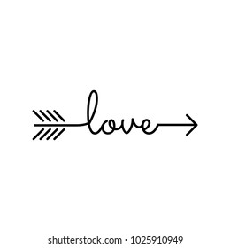 typography: word love starts an ends with arrow