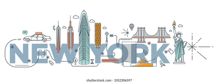 "Typography word ""New York"" branding technology concept. Collection of flat vector web icons. NY culture travel set, famous architectures and specialties detailed silhouette. USA famous landmark."