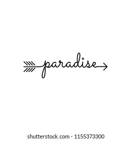 typography: word paradise, starts an ends with arrow