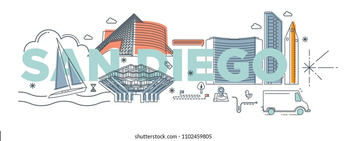 """Typography word """"San Diego"""" branding technology concept. Collection of flat vector web icons, culture travel set, famous architectures, specialties detailed silhouette. American famous landmark."""