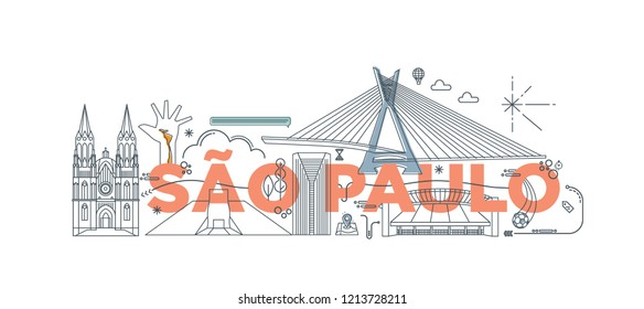 "Typography word ""Sao Paulo"" branding technology concept. Collection of flat vector web icons, culture travel set, famous architectures and specialties detailed silhouette. Brazilian famous landmark."