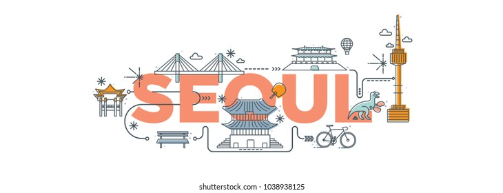 "Typography word ""Seoul"" branding technology concept. Collection of flat vector web icons. Seoul culture travel set, famous architectures and specialties detailed silhouette. Korean famous landmark."