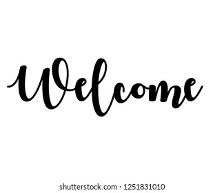 Typography word text art design vector graphic for welcome