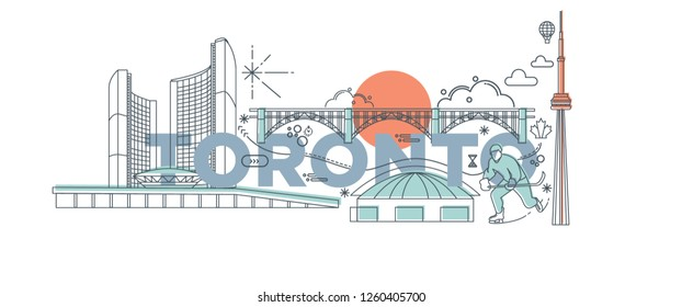 Typography word Toronto branding technology concept. Collection of flat vector web icons. Canadian culture travel set, architectures, specialties detailed silhouette. Doodle American famous landmark