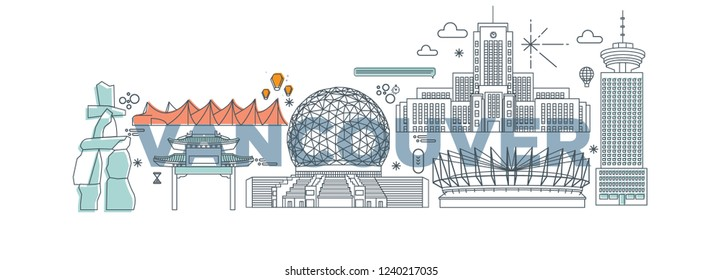 Typography word Vancouver branding technology concept. Collection of flat vector web icons. Canadian culture travel set, architectures, specialties detailed silhouette American famous landmark