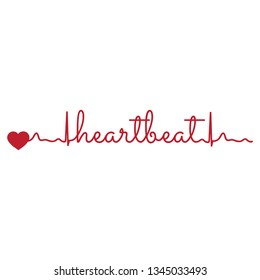 typography: words heart beat as a part of hearth line