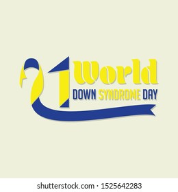 Typography for World Down Syndrome Day with the ribbon that forms number 21