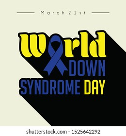 """Typography for World Down Syndrome Day with the ribbon that forms """"O"""" alphabet"""