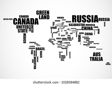 Typography world map with country names. Vector