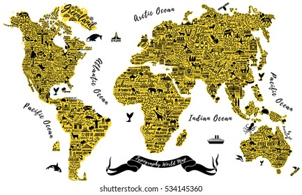 Typography World Map. Travel Typography Poster with cities and sightseeing attractions. Inspirational Vector Typography Travel Guide.