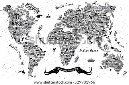 Typography World Map Travel Poster Cities Stock Vector Royalty Free