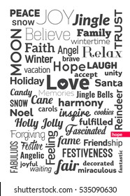 Typology Christmas themed vertical poster. 50x70cm.