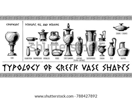 Typology Greek Vase Shapes Perfume Oil Stock Vector Royalty Free