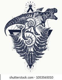 Tyrannosaur double exposure tattoo art. T-Rex dinosaur monster and trilobites, ammonite and fern. Symbol of archeology, paleontology