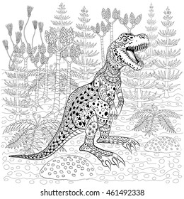 Tyrannosaur -  prehistoric lizard in nature. Antistress Coloring Book for adults.