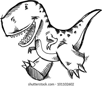 Tyrannosaurus Dinosaur Doodle Sketch Vector Illustration Art