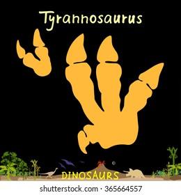Tyrannosaurus dinosaur fossil footprint. Dinosaur paws Vector Illustration