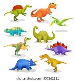 Tyrannosaurus lesothosaurus styracosaurus iguanodon stegosaurus diplodocus allosaurus thrinaxodon archaeopteryx pteradonan dinosaurs set. Collection of prehistoric animal habitants. Vector