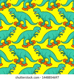 Tyrannosaurus on skateboard pattern seamless. Dino Skateboarder background. T Rex texture. Prehistoric lizard monster riding longboard