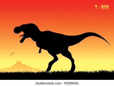 Tyrannosaurus rex background - vector illustration