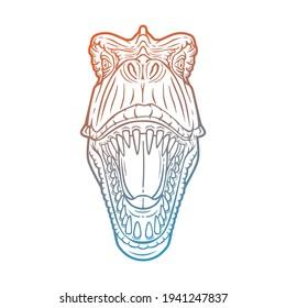 Tyrannosaurus Rex Head Dinosaur Illustration Vector. Velociraptor Face Predator Design.